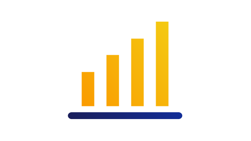 A bar graph with four bars growing from small to large.